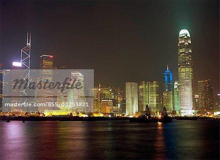 Central skyline at night, Hong Kong