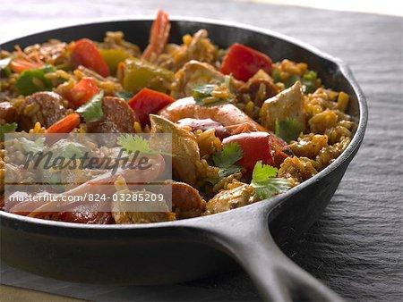 Garnelen und Fleisch Gericht