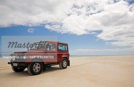 Quatre roues de conduite sur les plages de l'île de Fraser. Plus grande île de sable du monde n'a aucuns routes pavées et peut seulement être parcourue en 4x4.