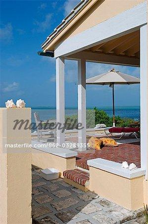 The verandah of Peacock House,Little Whale Cay