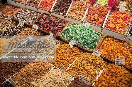 Magasin de bonbons, marché de Barcelone, Barcelone, Catalogne, Espagne