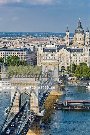 Chain Bridge and Danube River, Budapest, Hungary