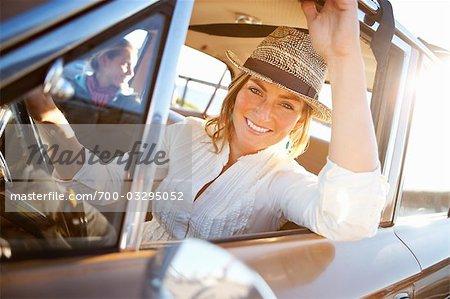 Woman Driving a Vintage Car, Santa Cruz, California, USA