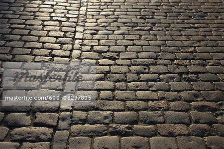 Détail des routes pavées, Heidelberg, Bade-Wurtemberg, Allemagne