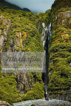 Waterfall, Franz Josef Glacier, South Island, New Zealand