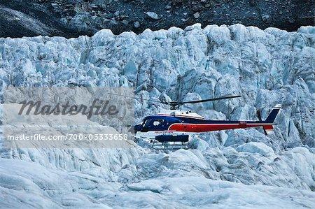Helicopter Landing on Franz Josef Glacier, South Island, New Zealand