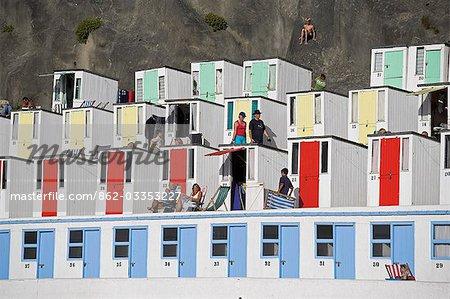 Beach huts on Tolcarne Beach,Newquay