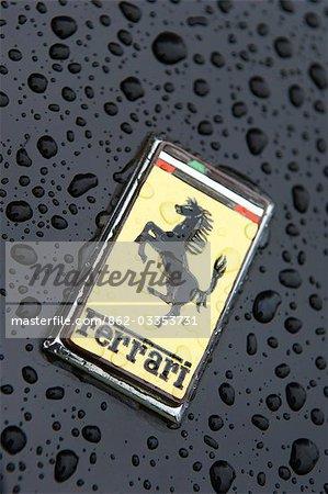 Logo on bonnet of Ferrari sportscar