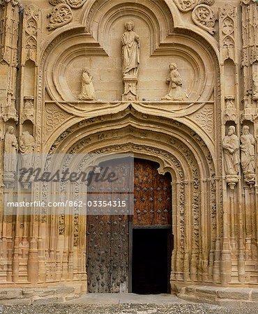 The carved portal of the Catholic church in Abalos,San Esteban Protomartir
