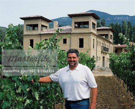 Jesus Puelles,owner and winemaker of the Puelles winery in his vineyard