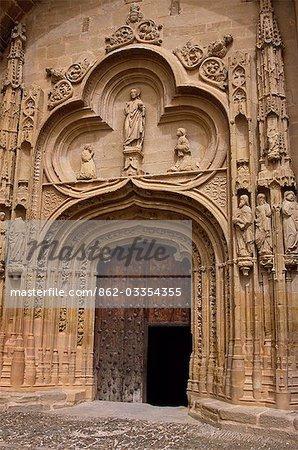 The ornate carved portal of San Esteban Protomartir,the Catholic church in Abalos.