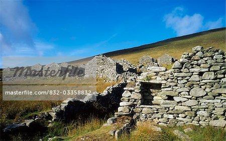Le désert Village, Achill Island, Co Mayo, Irlande