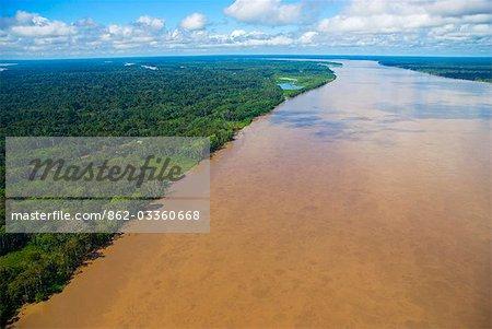 Peru,Amazon,Amazon River. Aerial view of the Amazon River near Iquitos.