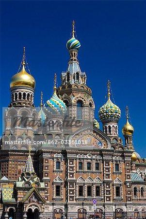 Russie, Saint-Pétersbourg. L'église sur le sang répandu.