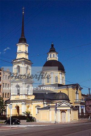 Russie, Saint-Pétersbourg. Église de Saint Siméon et St Anna sur Belinskovo St.