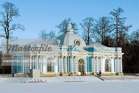 Russland, St. Petersburg, Zarskoje Selo (Puschkin). Katharinenpalast - Grotte. Entworfen von Rastrelli, befindet sich am nördlichen Ende des großen Teiches im Park des Schlosses Catherine die Grotte.