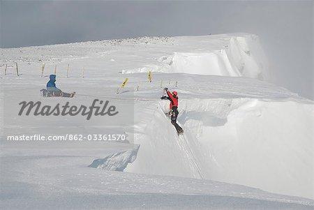 Scotland,Scottish Highlands,Glencoe. Ice Climbing on the cliffs of Aonach Mor.