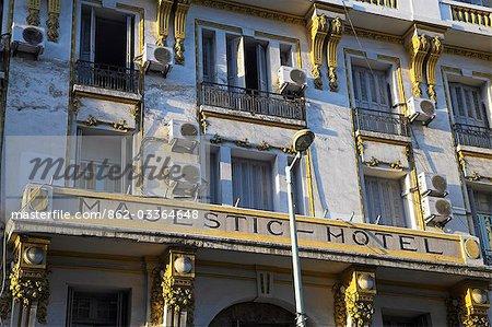 The Art Deco facade of the landmark Hotel Majestic on Avenue Lalla Yacout,Casablanca.