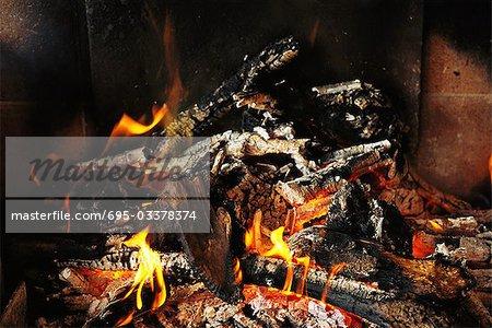 Firewood burning, close-up
