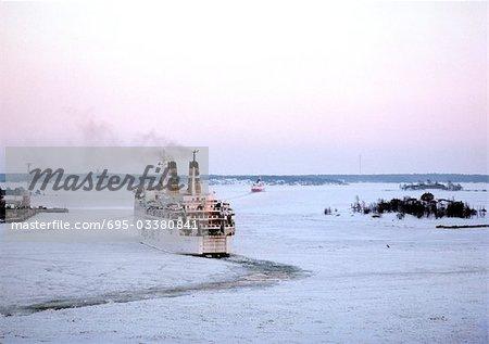 Baltic Sea, ship in snowy water