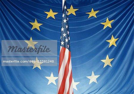 Drapeaux européens et américains