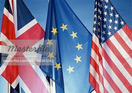Drapeaux britanniques, européennes et américaines