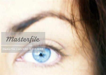 Woman's blue eye, eyebrow raised, blurred close up.