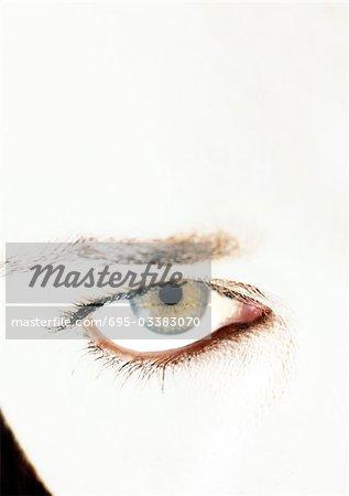 Woman's hazel eye, close up.