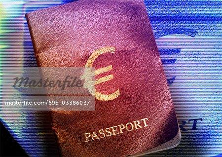 Euro sign printed on passport.