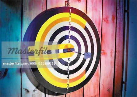Euro sign on dart board.