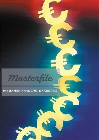 Signes euro découpés sur une chaîne en papier.