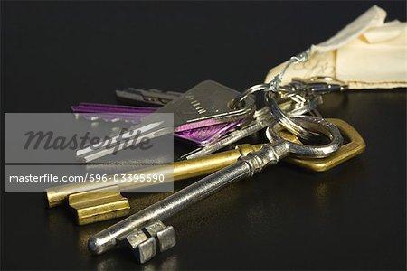 Assorted Schlüssel am Schlüsselring, Nahaufnahme