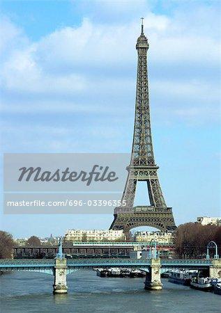 France, Paris, Eiffel Tower and River Seine