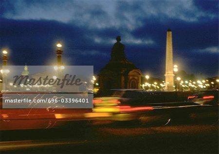 France, Paris, traffic in Place de la Concorde at night