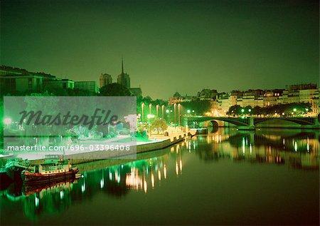 France, Paris, River Seine at night