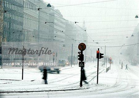 Finland, city street in snow