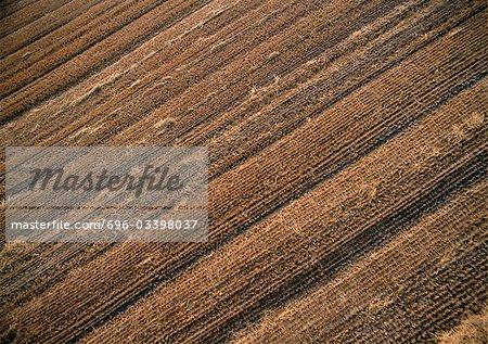 France, Lorraine, labourer le champ, aerial view