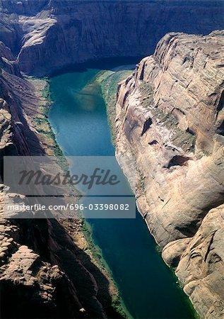 Colorado, Colorado River qui traverse le Grand Canyon, vue aérienne