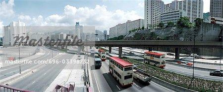 Hong Kong, freeway, ligne d'horizon à l'arrière-plan, élevé, vue panoramique
