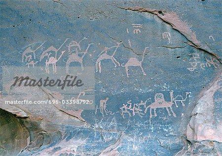 Jordan, Wadi Rum, Jebal Umm Ishrin, camel figures on wall