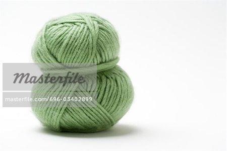 Skein of green yarn, close-up