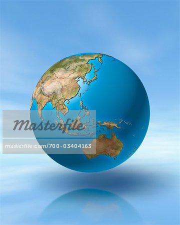 World Globe, Showing Pacific Rim