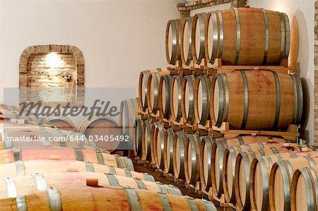 Barils de vin dans une cave