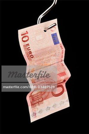 Ten Euro Note on Hook