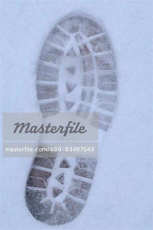Fußabdruck im Schnee