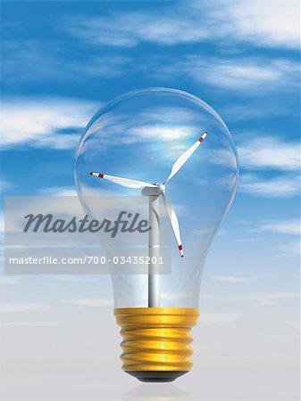 Windmill Inside Lightbulb