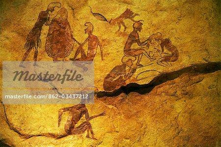Beispiel für Felszeichnungen gefunden in der südlichen Sahara, Libyen, derzeit im Museum in Tripolis ausgestellt.
