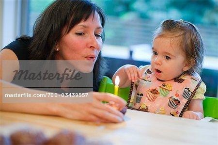 Mutter und junge Tochter, die Tochter des ersten Geburtstag feiern