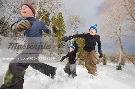 Brüder im Schnee, Steamboat Springs, Colorado, USA