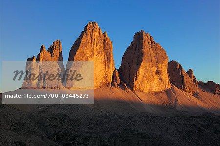 Tre Cime di Lavaredo at Sunset, Dolomites, South Tyrol, Italy